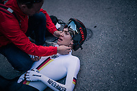 Michel Hessmann (DEU)<br /> <br /> post-race battlefield in the finish zone<br /> <br /> MEN JUNIOR INDIVIDUAL TIME TRIAL<br /> Hall-Wattens to Innsbruck: 27.8 km<br /> <br /> UCI 2018 Road World Championships<br /> Innsbruck - Tirol / Austria