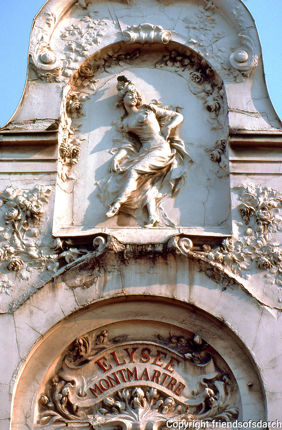 Paris: Popular Art Nouveau relief--Elysee Montmartre. Blvd. Rochechouart Anvers Metro. Photo '90.