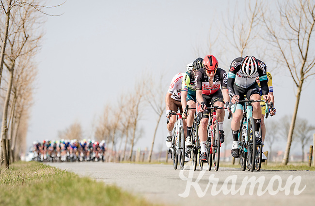 breakaway group rolling through De Moeren and about to get caught by the peloton<br /> <br /> 45th Oxyclean Classic Brugge-De Panne 2021 (ME/1.UWT)<br /> 1 day race from Bruges to De Panne (204km)<br /> <br /> ©kramon