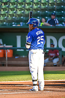 Michael Medina (25) of the Ogden Raptors at bat against the Idaho Falls Chukars in Pioneer League action at Lindquist Field on August 27, 2015 in Ogden, Utah. Ogden defeated the Chukars 4-3.  (Stephen Smith/Four Seam Images)