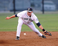 Infielder Jake Schlander (6) of the Pulaski Mariners in a game against the Danville Braves on July 19, 2010, at Calfee Park in Pulaski, Va. Photo by: Tom Priddy/Four Seam Images