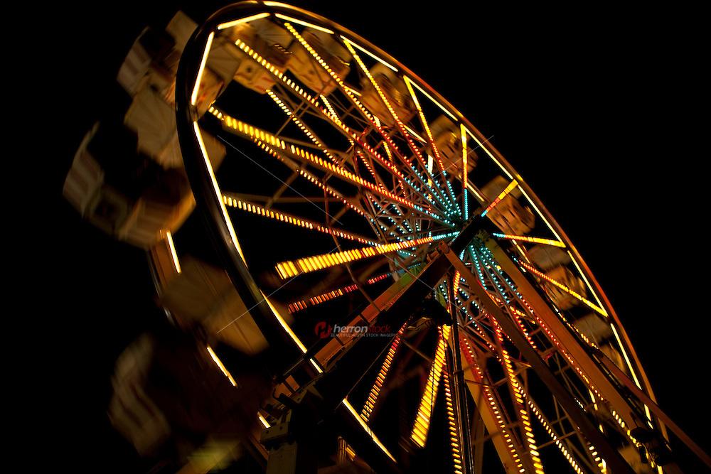 Giant carnival ferris wheel ride close up, Austin, Texas