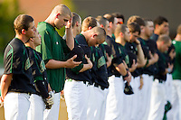 The Charlotte 49ers during the National Anthem prior to taking on the Wake Forest Demon Deacons at Gene Hooks Field on March 22, 2011 in Winston-Salem, North Carolina.   Photo by Brian Westerholt / Four Seam Images