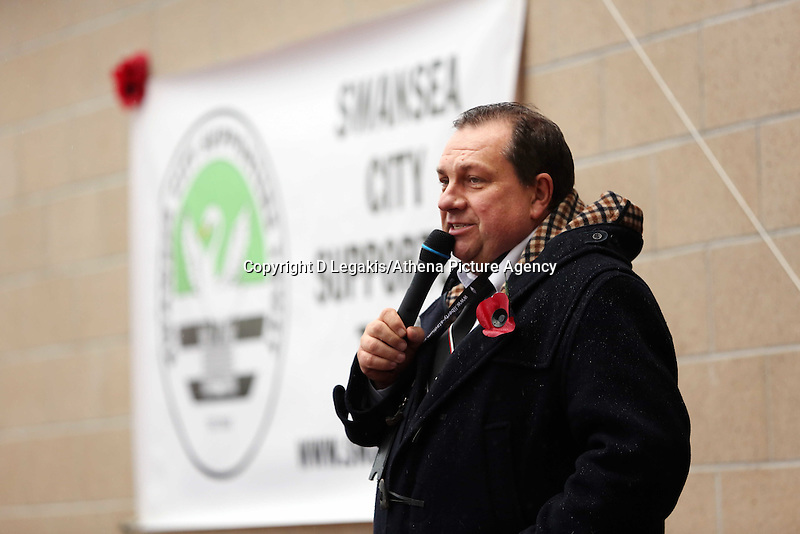 Pictured: Kevin John, Swansea City chaplain and announcer. Sunday 09 November 2014<br />