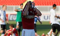 Nicolai Johannessen (C) of Denmark looks dejected after the UEFA U-17 Championship semi final match between Denmark and Germany on May 12, 2011 in Novi Sad, Serbia. (Photo by Srdjan Stevanovic/Starsportphoto.com)