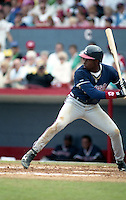 Atlanta Braves Deion Sanders during spring training circa 1992 at Chain of Lakes Park in Winter Haven, Florida.  (MJA/Four Seam Images)