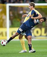 MELBOURNE, AUSTRALIA - NOVEMBER 18: Carlos Hernandez of the Victory defends the ball during the round 14 A-League match between the Melbourne Victory and Central Coast Mariners at AAMI Park on November 18, 2010 in Melbourne, Australia (Photo by Sydney Low / Asterisk Images)