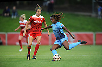 Boyds, MD - Saturday May 6, 2017: Kayla Mills, Havana Solaun during a regular season National Women's Soccer League (NWSL) match between the Washington Spirit and Sky Blue FC at Maureen Hendricks Field, Maryland SoccerPlex.