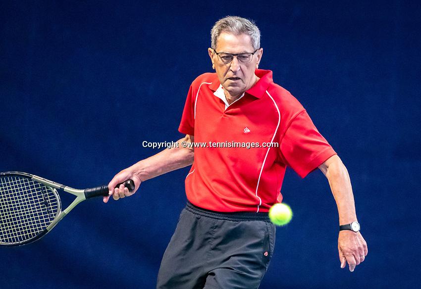 Hilversum, The Netherlands,  August 17, 2021,  Tulip Tennis Center, NKS, National Senior Tennis Championships, Men's 70+ Ben Orriëns (NED)<br /> Photo: Tennisimages/Henk Koster