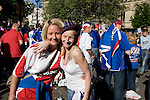 Rangers Fans in Manchester, 14/05/2008. Albert Square, UEFA Cup Final. Two women fans of Glasgow Rangers in the centre of Manchester to watch the UEFA Cup final against Zenit St. Petersburg on a large screen in Albert Square, the location of one of the UEFA Fan Zones. The match was staged at the City of Manchester Stadium and was won by the Russian team by two goals to nil. It was Rangers' first European final appearance since they won the Cup-Winners Cup in 1972 and around 150,000 fans gathered in Manchester. Photo by Colin McPherson.