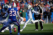 New York Jets Jason Myers (2) kicks an extra point during an NFL football game against the Buffalo Bills, Sunday, December 9, 2018, in Orchard Park, N.Y.  (Mike Janes Photography)