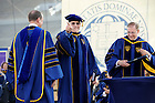 May 22, 2011; Chuck Lennon points to the crowd after receiving an honorary doctor of laws degree at the 2011 Commencement ceremony...Photo by Joe Raymond/University of Notre Dame