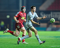 Andy Forsyth of Leicester Tigers passes during the LV= Cup first round match between Scarlets and Leicester Tigers at Parc y Scarlets (Photo by Rob Munro, Fotosports International)
