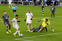 ST PAUL, MN - OCTOBER 28: Andre Shinyashiki #99 of Colorado Rapids scores a goal during a game between Colorado Rapids and Minnesota United FC at Allianz Field on October 28, 2020 in St Paul, Minnesota.