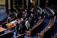 United States House Republicans are seen as the House votes on H.R. 24, an article of impeachment against President Donald Trump, on Wednesday, January 13, 2021 in the House Chamber at the U.S. Capitol.<br /> Credit: Greg Nash / Pool via CNP /MediaPunch
