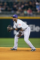 Louisville Bats second baseman Irving Falu (4) on defense against the Charlotte Knights at BB&T BallPark on May 12, 2015 in Charlotte, North Carolina.  The Knights defeated the Bats 4-0.  (Brian Westerholt/Four Seam Images)
