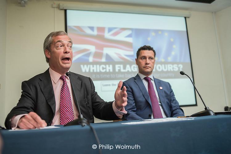 Nigel Farage and MEP Steven Woolfe. UKIP EU referendum press conference, London.