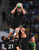 2nd October 2021, Cbus Super Stadium, Gold Coast, Queensland, Australia;   Ethan Blackadder takes the lineout ball. New Zealand All Blacks versus South Africa Springboks.The Rugby Championship. Rugby Union test match.