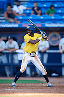 Michigan Wolverines right fielder Christan Bullock (5) at bat during a game against Army West Point on February 17, 2018 at Tradition Field in St. Lucie, Florida.  Army defeated Michigan 4-3.  (Mike Janes/Four Seam Images)