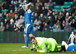 Celtic v St Johnstone…18.02.18…   Celtic Park    SPFL<br />Richie Foster holds his head after seeing George Williams fail to connect with his cross<br />Picture by Graeme Hart. <br />Copyright Perthshire Picture Agency<br />Tel: 01738 623350  Mobile: 07990 594431