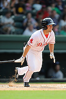 Center fielder Cole Sturgeon (35) of the Greenville Drive bats in a game against the Asheville Tourists on Sunday, July 20, 2014, at Fluor Field at the West End in Greenville, South Carolina. Sturgeon is a 2014 draft pick of the Boston Red Sox out of the University of Louisville. Asheville won game two of a doubleheader, 3-2. (Tom Priddy/Four Seam Images)