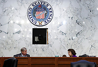 United States Senator Lindsey Graham (Republican of South  Carolina), Chairman, US Senate Judiciary Committee and US Senator Dianne Feinstein (Democrat of California) during the fourth day of U.S. Senate Judiciary Committee confirmation hearings for Supreme Court nominee Judge Amy Coney Barrett on Capitol Hill in Washington, U.S., October 15, 2020. <br /> Credit: Jonathan Ernst / Pool via CNP /MediaPunch