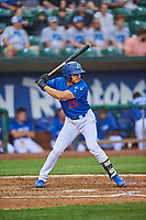 Zac Ching (25) of the Ogden Raptors bats against the Grand Junction Rockies at Lindquist Field on June 17, 2019 in Ogden, Utah. The Rockies defeated the Raptors 9-0. (Stephen Smith/Four Seam Images)