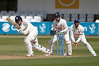 Stuart Poynter in batting action for Durham as Adam Wheater looks on from behind the stumps during Essex CCC vs Durham CCC, LV Insurance County Championship Group 1 Cricket at The Cloudfm County Ground on 16th April 2021