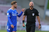 5th September 2020; PTS Academy Stadium, Northampton, East Midlands, England; English Football League Cup, Carabao Cup, Northampton Town versus Cardiff City; Joe Bennett of Cardiff City complains to the referee about a decision which lead to the goal from Northampton