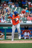 Syracuse Mets Rymer Liriano (28) bats during an International League game against the Indianapolis Indians on July 17, 2019 at Victory Field in Indianapolis, Indiana.  Syracuse defeated Indianapolis 15-5  (Mike Janes/Four Seam Images)