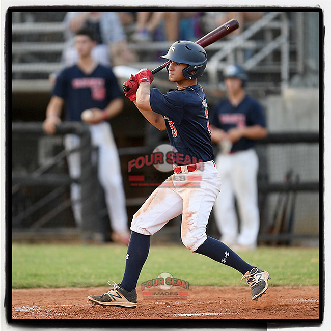 J.T. Morris (5) of the Greer Warhawks, a rising senior at Blue Ridge High, drives in a run late in a South Carolina American League game against Easley on Thursday, July 16, 2020, at Stevens Field in Greer, South Carolina. Greer won, 9-4. (Tom Priddy/Four Seam Images)