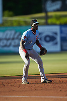 Hickory Crawdads third baseman Sherten Apostel (13) on defense against the Kannapolis Intimidators at Kannapolis Intimidators Stadium on May 6, 2019 in Kannapolis, North Carolina. The Crawdads defeated the Intimidators 2-1 in game one of a double-header. (Brian Westerholt/Four Seam Images)