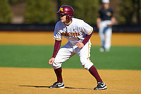 AJ Pettersen #1 of the Minnesota Golden Gophers takes his lead off of first base against the Towson Tigers at Gene Hooks Field on February 26, 2011 in Winston-Salem, North Carolina.  The Gophers defeated the Tigers 6-4.  Photo by Brian Westerholt / Sports On Film