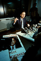 Montreal (QC)CANADA - File Photo<br /> <br /> Liberal Provincial Leader Robert Bourassa in Saint-Leonard By-Election of February 1989