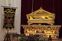 Antigua, Guatemala.  Senor Sepultado, Effigy of the Crucified Christ, San Jose Cathedral, Semana Santa.
