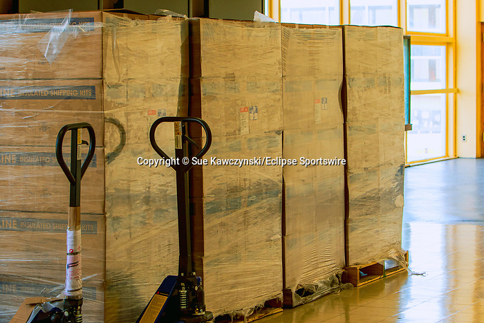 APRIL 07, 2020: Insulated Shipping Kits sit on pallets to used for the COVID 19 testing area at Aqueduct Racecourse in Ozone Park, NY.  Sue Kawczynski/Eclipse Sportswire/CSM