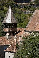 Europe/France/Midi-Pyrénées/46/Lot/Espagnac-Sainte-Eulalie: l'église Notre-Dame-de-Val-Paradis-le clocher et les toits de l'église