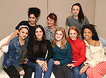 "Lilly Santiago, Sharlene Cruz, Isabelle Fuhrman, Erica Schmidt, Sophia Kelly-Hendrick, AnnaSophia Robb, Ismenia Mendes and Ayana Workman in rehearsal with Red Bull Theater's All-Female ""MACBETH"" at the Vineyard Theatre Rehearsal Studios on April 12, 2019 in New York City."