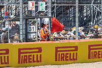 18th July 2021; Silverstone Circuit, Silverstone, Northamptonshire, England; Formula One British Grand Prix, Race Day; The red flag is waved to stop the race after a crash between Red Bull Racing Honda driver Max Verstappen and Mercedes AMG Petronas F1 Team driver Lewis Hamilton
