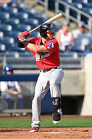 Frisco Rough Riders third baseman Ryan Rua (9) at bat during the first game of a doubleheader against the Tulsa Drillers on May 29, 2014 at ONEOK Field in Tulsa, Oklahoma.  Frisco defeated Tulsa 13-4.  (Mike Janes/Four Seam Images)