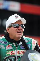 Jun. 17, 2011; Bristol, TN, USA: NHRA funny car driver John Force during qualifying for the Thunder Valley Nationals at Bristol Dragway. Mandatory Credit: Mark J. Rebilas-
