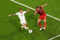 2nd July 2021; Allianz Arena, Munich, Germany; European Football Championships, Euro 2020 quarterfinals, Belgium versus Italy;  Ciro Immobile Italy tries to block Jan Vertoghen Belgium