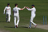 Sam Cook of Essex celebrates with his team mates after taking the wicket of Riki Wessels during Worcestershire CCC vs Essex CCC, LV Insurance County Championship Group 1 Cricket at New Road on 2nd May 2021
