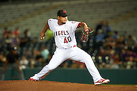 Scottsdale Scorpions Eduardo Paredes (40), of the Los Angeles Angels of Anaheim organization, during a game against the Salt River Rafters on October 12, 2016 at Scottsdale Stadium in Scottsdale, Arizona.  Salt River defeated Scottsdale 6-4.  (Mike Janes/Four Seam Images)