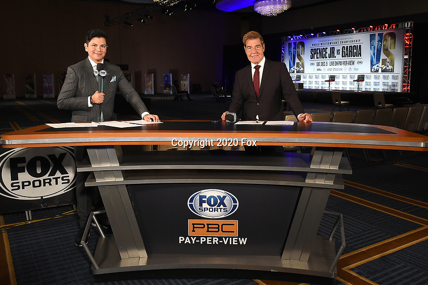 DALLAS, TX - DECEMBER 2: Ray Flores and Joe Goossen at the press conference for the Errol Spence Jr. vs Danny Garcia December 5, 2020 Fox Sports PBC Pay-Per-View title fight at AT&T Stadium in Arlington, Texas. (Photo by Frank Micelotta/Fox Sports)