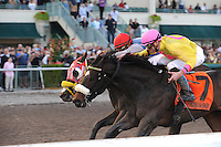 Ancient Rome captures the Spectacular Bid stakes on opening day at Gulfstream Park. Ridden by Joseph Rocco Jr. Running second is For Oby, ridden by Julio Garcia