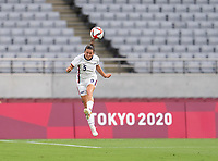 TOKYO, JAPAN - JULY 21: Kelley O'Hara #5 of the USWNT heads the ball during a game between Sweden and USWNT at Tokyo Stadium on July 21, 2021 in Tokyo, Japan.