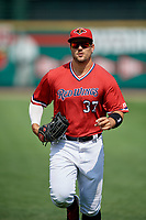 Rochester Red Wings right fielder Daniel Palka (37) jogs to the dugout during a game against the Columbus Clippers on August 9, 2017 at Frontier Field in Rochester, New York.  Rochester defeated Columbus 12-3.  (Mike Janes/Four Seam Images)