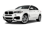 Stock pictures of low aggressive front three quarter view of 2017 BMW X6 M-sportpakket 5 Door SUV Low Aggressive