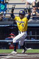 Michigan Wolverines second baseman Ako Thomas (4) signals to a teammate headed home against the Illinois Fighting Illini during the NCAA baseball game on April 8, 2017 at Ray Fisher Stadium in Ann Arbor, Michigan. Michigan defeated Illinois 7-0. (Andrew Woolley/Four Seam Images)